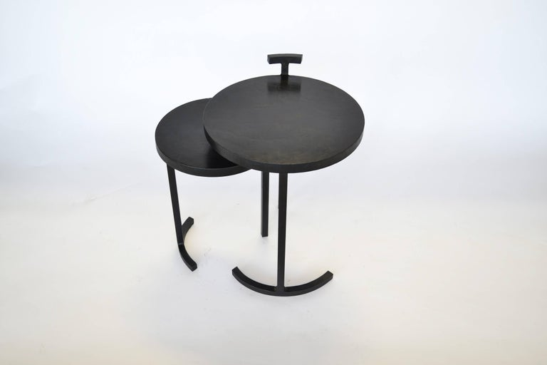 American Nesting Side Table Set Modern Round Pair End Table Cast Blackened Waxed Steel For Sale