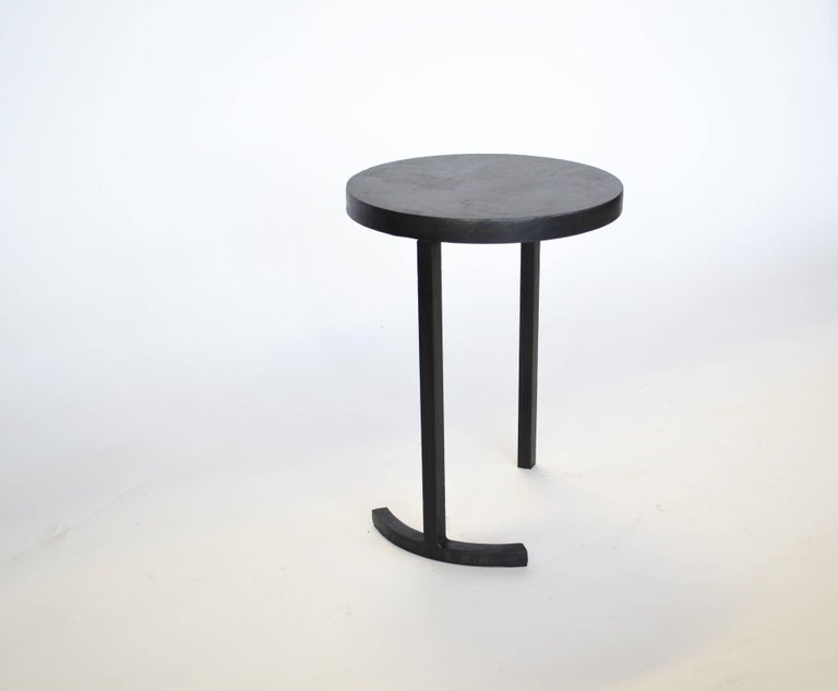 Nesting Side Table Set Modern Round Pair End Table Cast Blackened Waxed Steel For Sale 1