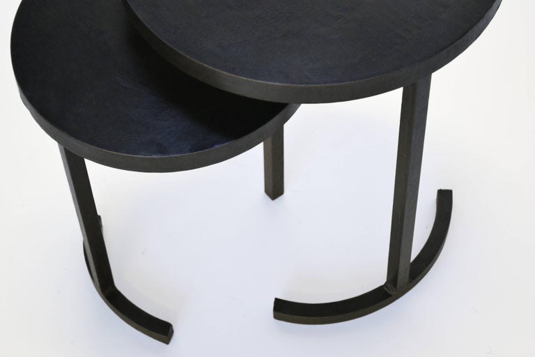 Nesting Side Table Set Modern Round Pair End Table Cast Blackened Waxed Steel For Sale 3