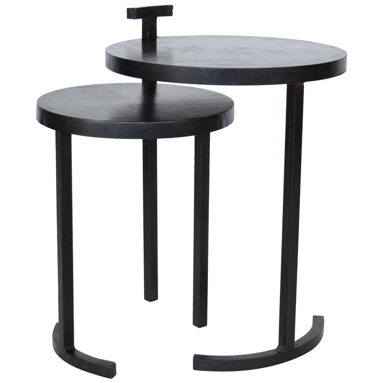 Nesting Table Set, Handmade by J.M. Szymanski in Cast Blackened and Waxed Steel For Sale