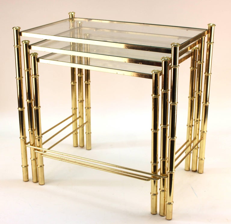 Nesting Tables and Magazine Stand Set with Faux Bamboo Design in Gilt Metal In Good Condition For Sale In New York, NY