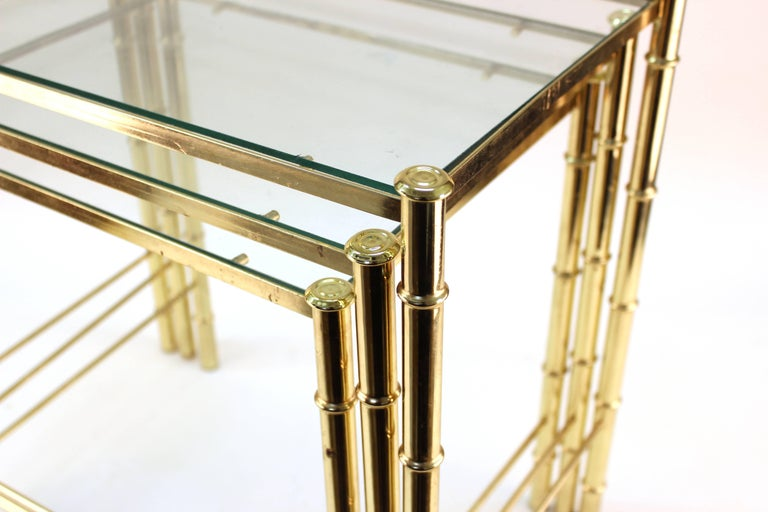 20th Century Nesting Tables and Magazine Stand Set with Faux Bamboo Design in Gilt Metal For Sale