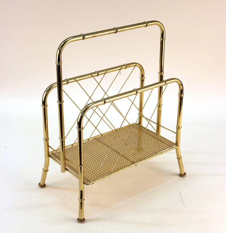Nesting Tables and Magazine Stand Set with Faux Bamboo Design in Gilt Metal For Sale 1