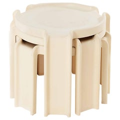 Nesting Tables by Giotto Stoppino for Kartell, Italy 1960, in White Color