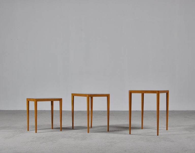 Nesting Tables in Birch by Severin Hansen Jr. for Haslev Møbelfabrik, Denmark For Sale 5