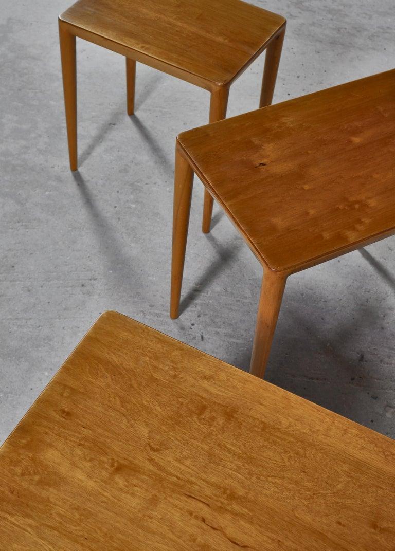 Nesting Tables in Birch by Severin Hansen Jr. for Haslev Møbelfabrik, Denmark For Sale 6