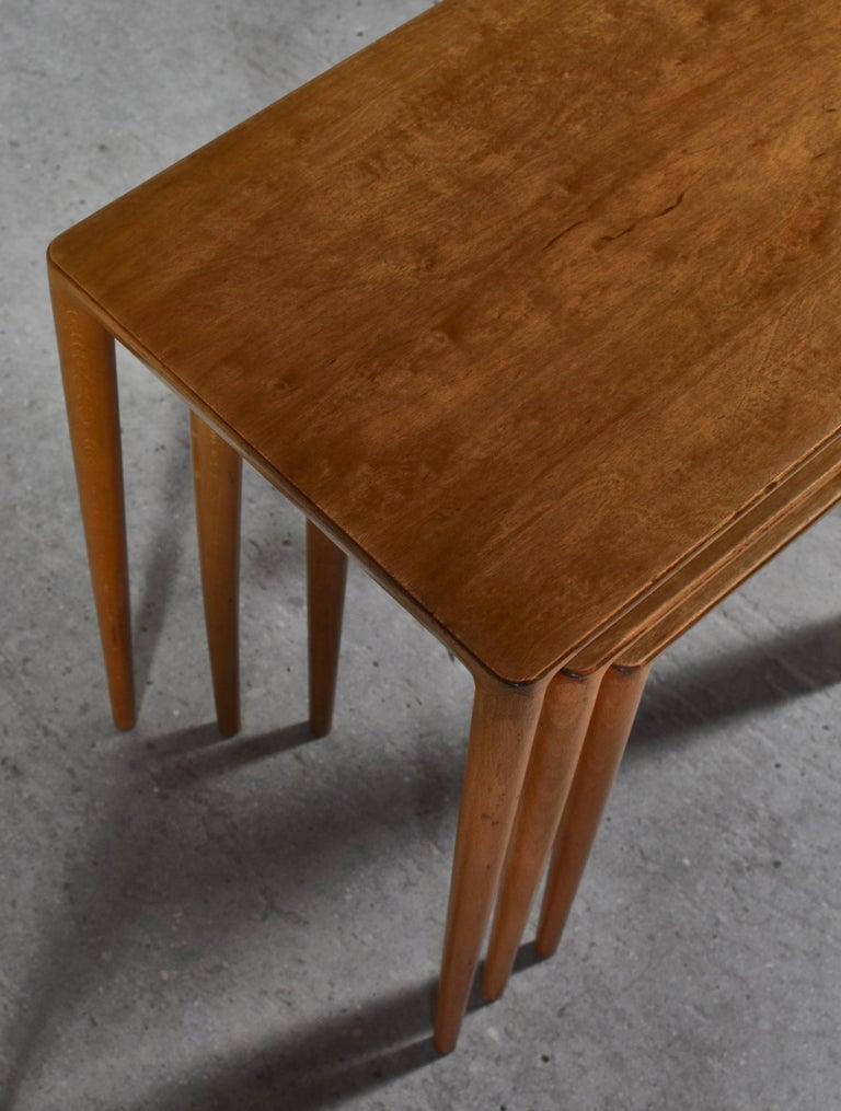 Nesting Tables in Birch by Severin Hansen Jr. for Haslev Møbelfabrik, Denmark For Sale 7