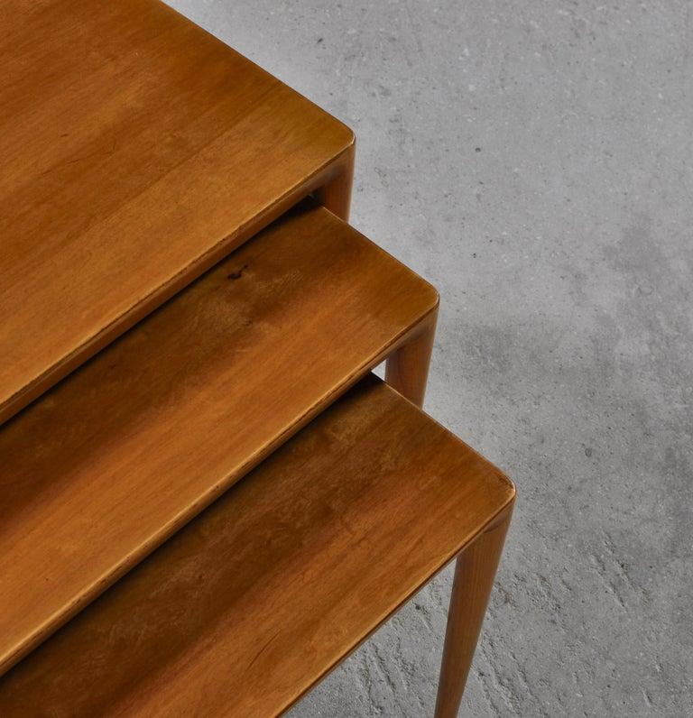 Nesting Tables in Birch by Severin Hansen Jr. for Haslev Møbelfabrik, Denmark For Sale 8