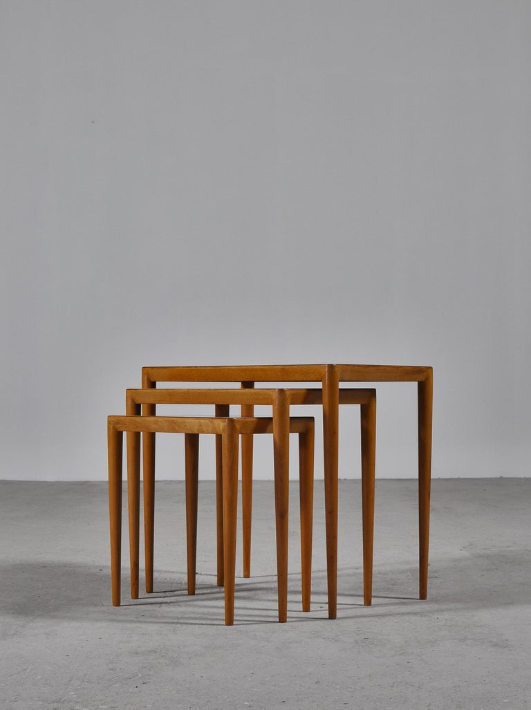 Danish Nesting Tables in Birch by Severin Hansen Jr. for Haslev Møbelfabrik, Denmark For Sale