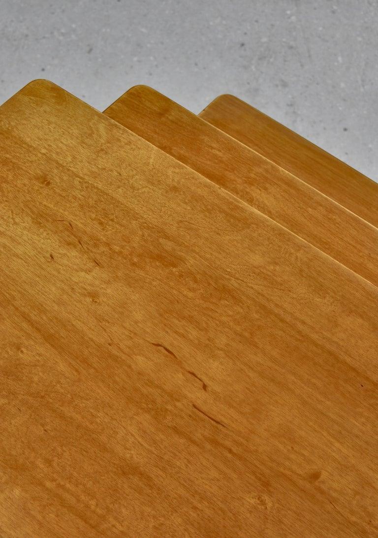 Beech Nesting Tables in Birch by Severin Hansen Jr. for Haslev Møbelfabrik, Denmark For Sale