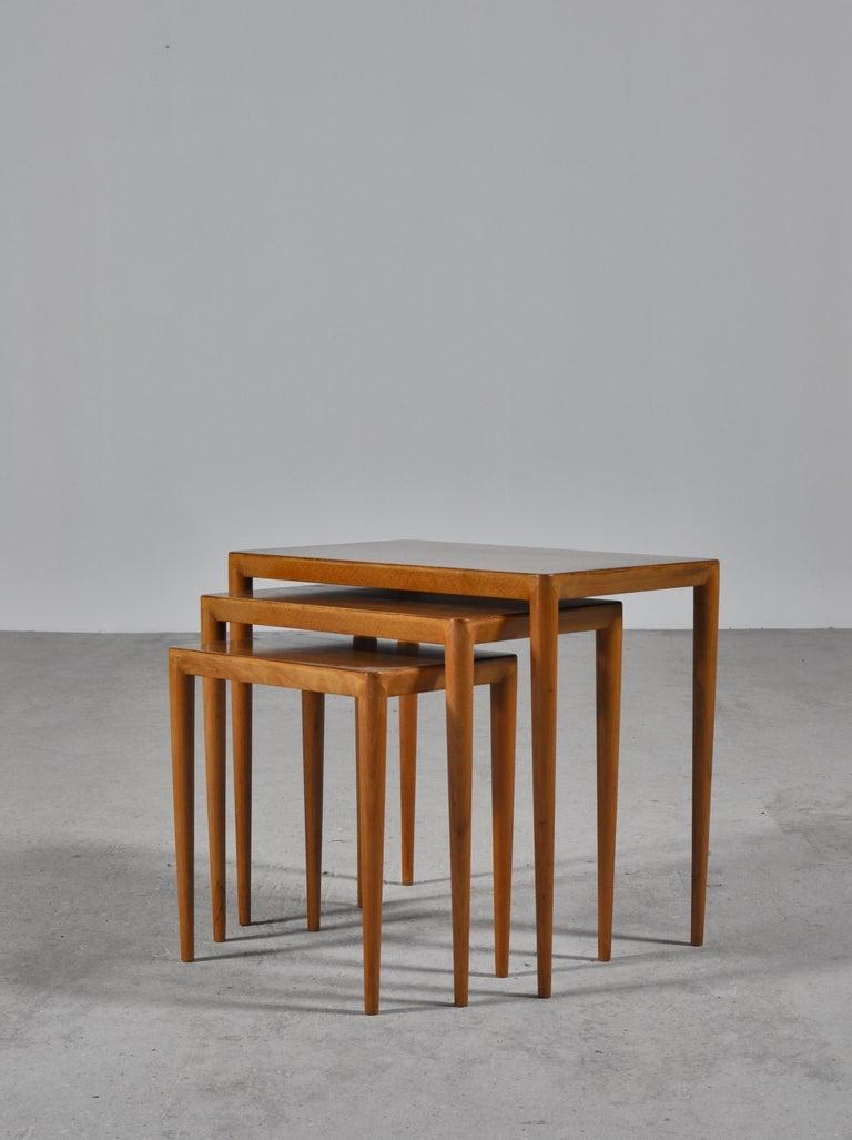 Nesting Tables in Birch by Severin Hansen Jr. for Haslev Møbelfabrik, Denmark For Sale 1