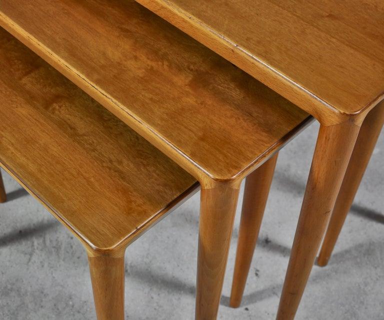 Nesting Tables in Birch by Severin Hansen Jr. for Haslev Møbelfabrik, Denmark For Sale 2