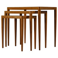 Nesting Tables in Birch by Severin Hansen Jr. for Haslev Møbelfabrik, Denmark