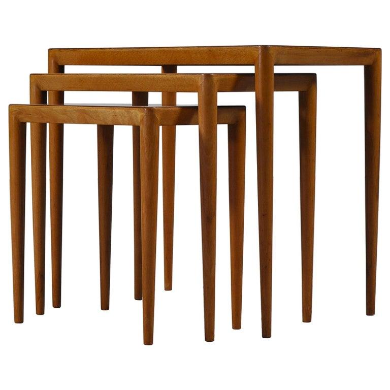 Nesting Tables in Birch by Severin Hansen Jr. for Haslev Møbelfabrik, Denmark For Sale