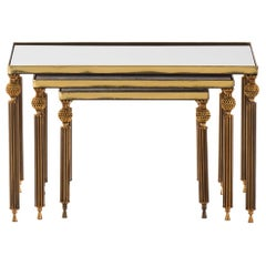 Nesting Tables in Brass and Glass Probably Produced in Italy