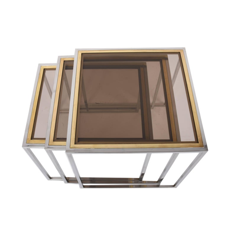 Nesting Tables in Chrome and Brass Smoked Glass, Italy, 1970s For Sale 6