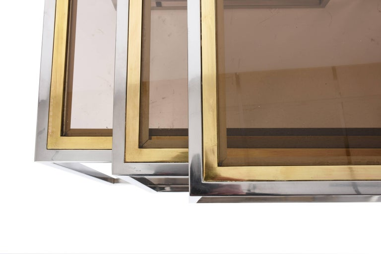 Nesting Tables in Chrome and Brass Smoked Glass, Italy, 1970s For Sale 7