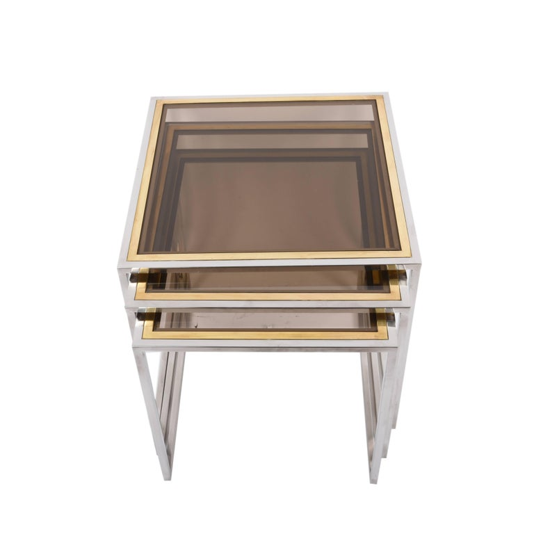 Nesting Tables in Chrome and Brass Smoked Glass, Italy, 1970s In Excellent Condition For Sale In Roma, IT