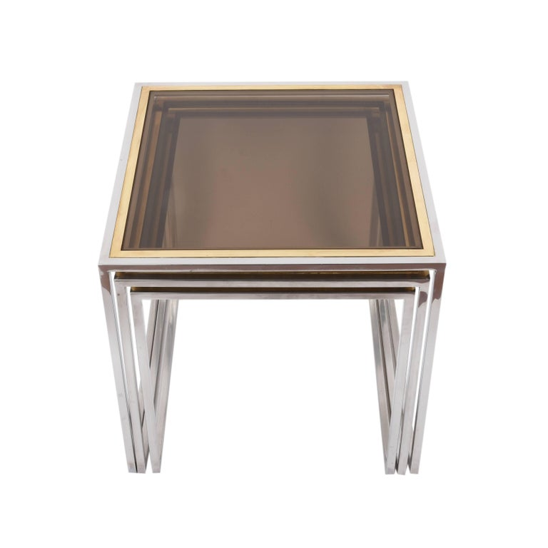 Nesting Tables in Chrome and Brass Smoked Glass, Italy, 1970s For Sale 1