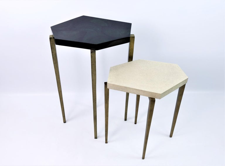 Futurist Nesting Tables in Natural Shagreen and Green Shell Marquetry by Ginger Brown For Sale