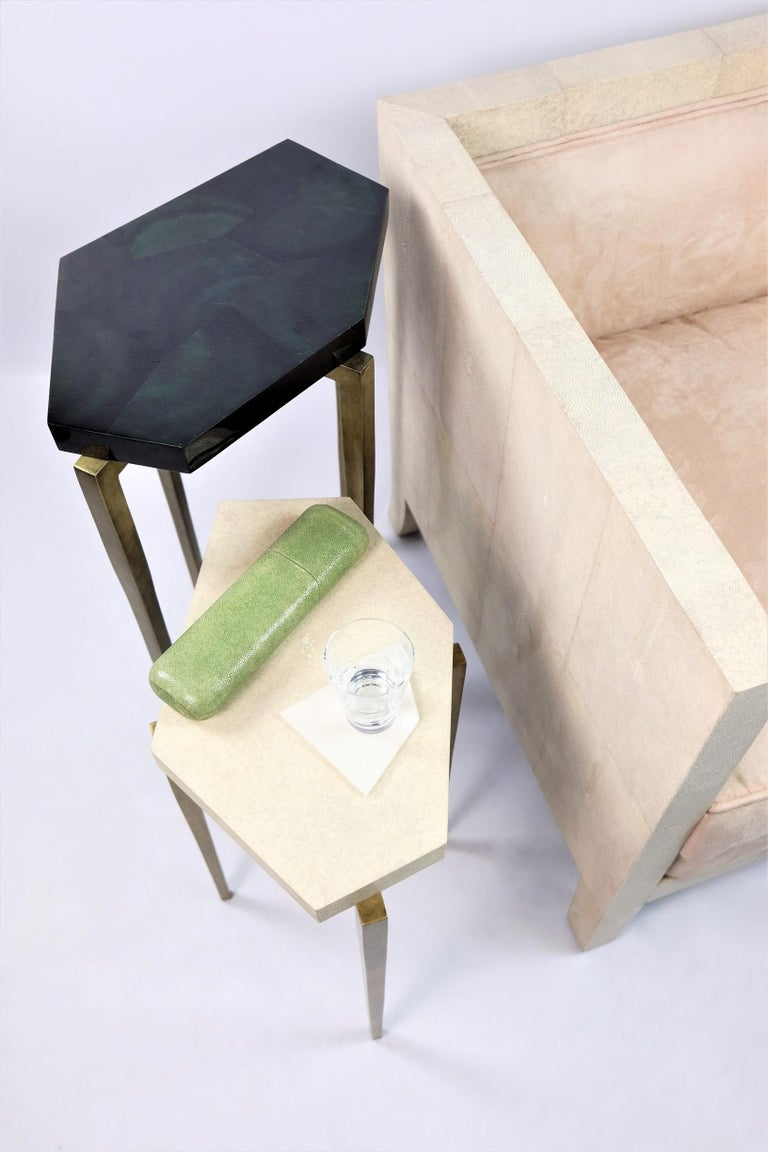 French Nesting Tables in Natural Shagreen and Green Shell Marquetry by Ginger Brown For Sale