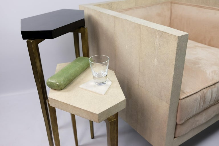 Hand-Crafted Nesting Tables in Natural Shagreen and Green Shell Marquetry by Ginger Brown For Sale