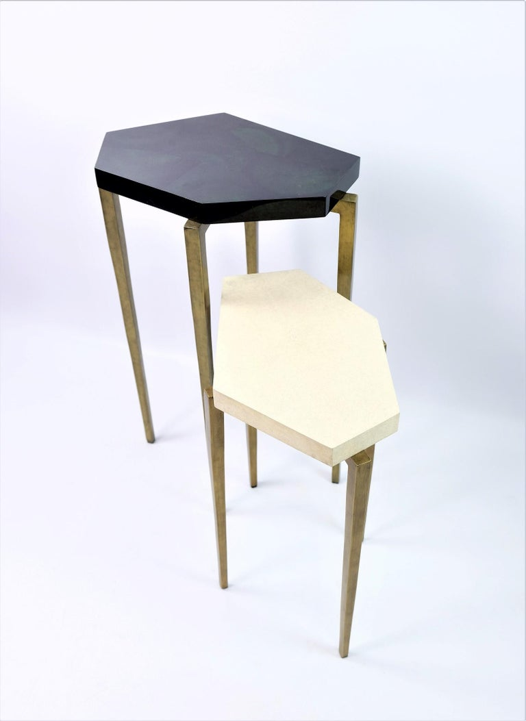Contemporary Nesting Tables in Natural Shagreen and Green Shell Marquetry by Ginger Brown For Sale