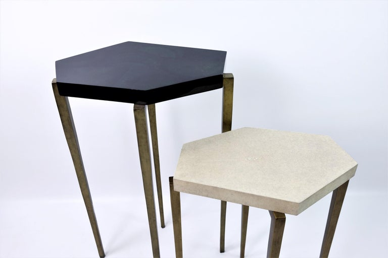 Nesting Tables in Natural Shagreen and Green Shell Marquetry by Ginger Brown For Sale 1