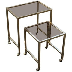 Nesting Tables Italian Design 1970 in Solid Brass with Wheels