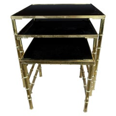 Nesting Tables Mid-Century Modern Gilt Metal Faux Bamboo with Amethyst Glass