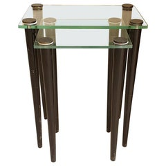 Nesting Two Mid-Century Modern Side Tables, Glass & Black Wood Legs, Italy, 1960