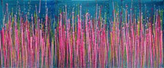Artist's description: Bright colors! over metallic, Painting, Acrylic on Canvas