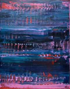 Blue with red intrusions, Painting, Acrylic on Canvas
