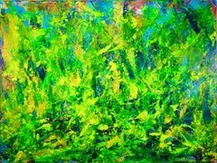 Changes-Translucent yellow organic abstract landsc, Painting, Acrylic on Canvas