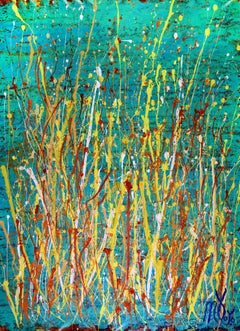 Drizzles frenzy over aqua green, Painting, Acrylic on Canvas