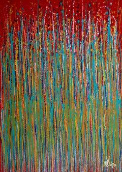 Garden rhythm (Over Red), Painting, Acrylic on Canvas