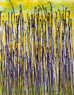 Glare garden (Purple and yellow reflections), Painting, Acrylic on Canvas