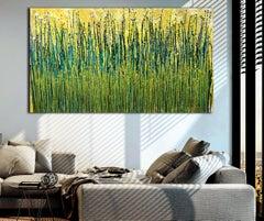 Golden vernal garden, Painting, Acrylic on Canvas