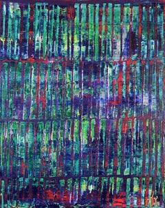 Iridescent green forest (red lights), Painting, Acrylic on Canvas