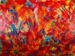 Red Abstract Landscape - BOLD, Acrylic Painting on Canvas
