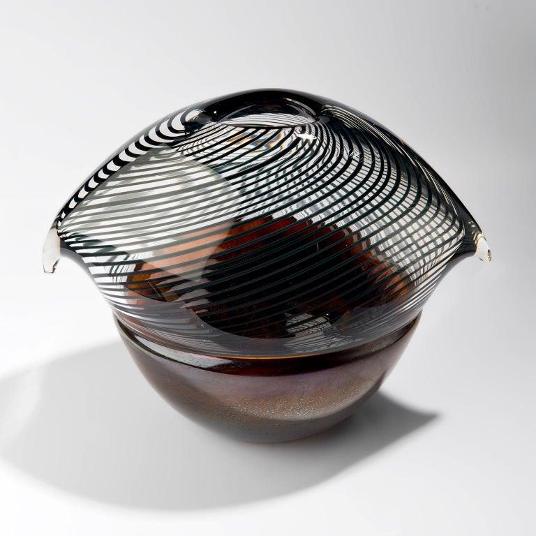 Modern Net Bird - Handblown copper glass and clear net glass attached. For Sale