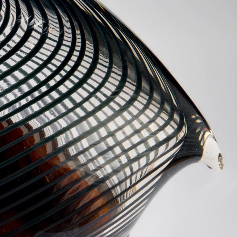 Dutch Net Bird - Handblown copper glass and clear net glass attached. For Sale