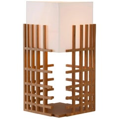 Net Brazilian Contemporary Wood Table Lamp by Lattoog