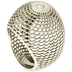 18 Karat White Gold  Diamond Bombe Ring, Cocktail Ring  White Gold Dome Ring