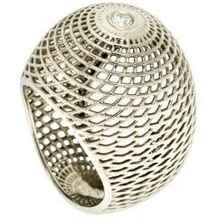 18 Karat White Gold Net Diamond Bombe Ring,