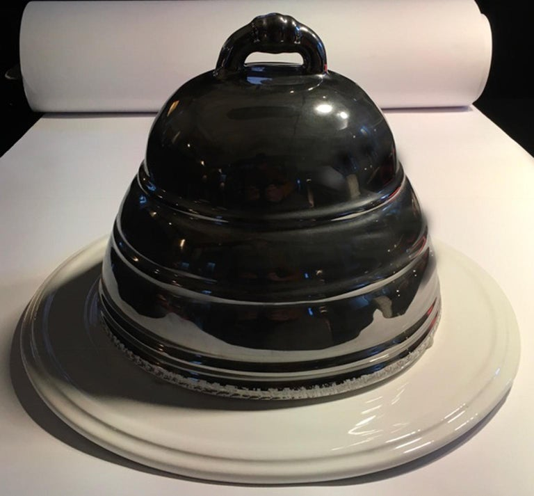 Netherland Silver and White Colored Ceramic Bell Serving Cake Dish in Stock For Sale 8