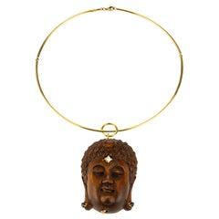 Netsuke Wood 18 Karat Gold Necklace Diamond Blu Sapphire