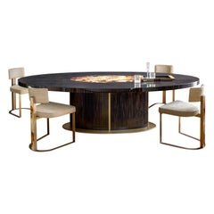 Nettuno Dining Table in Glossy Ebony, Corno Italiano and Satin Brass, Mod. 4875