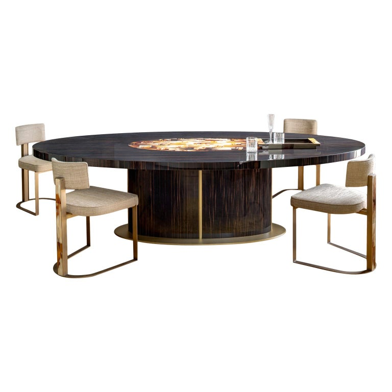 Nettuno Dining Table in Glossy Ebony, Corno Italiano and Satin Brass, Mod. 4875 For Sale