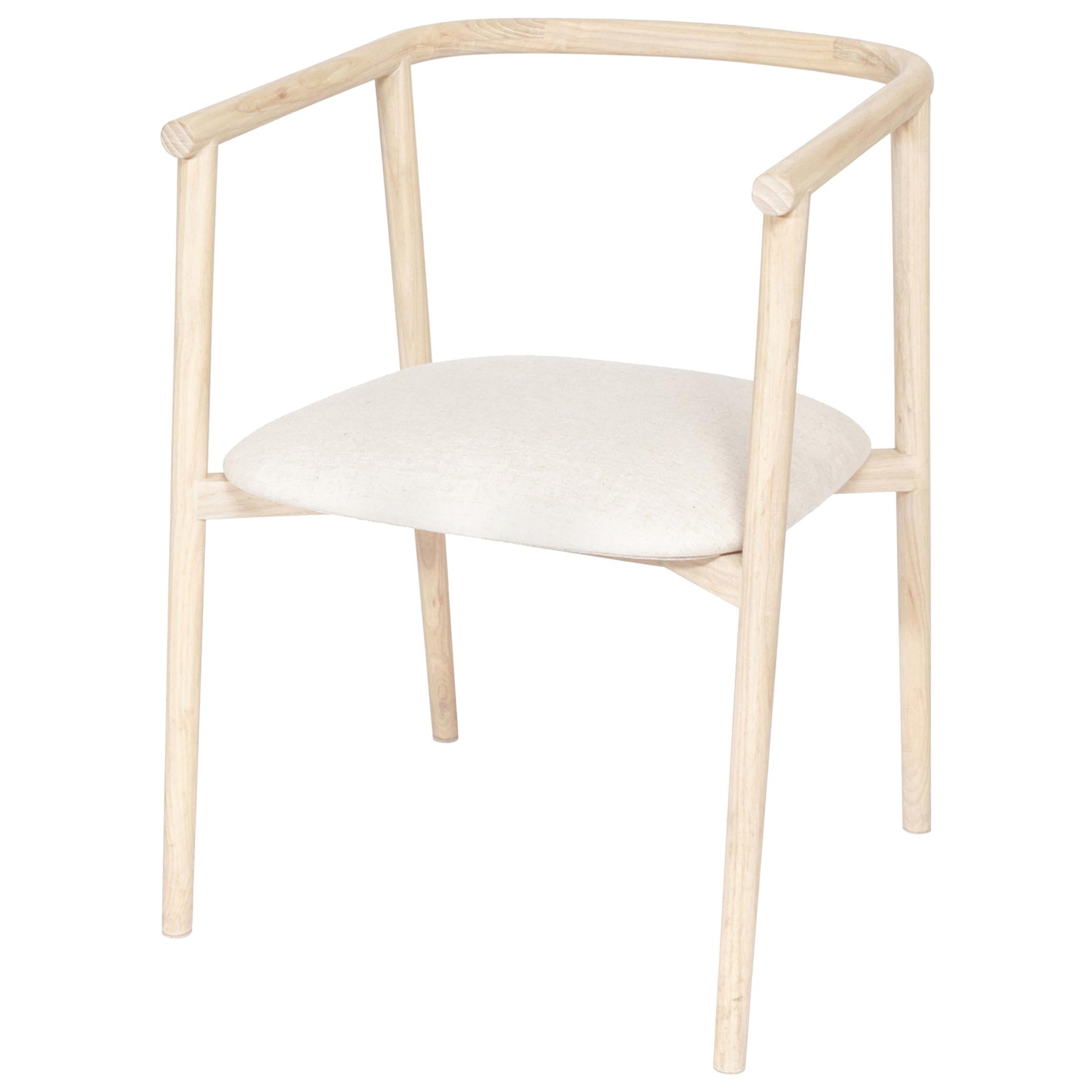 Neutra Ash Carved Wood Chair with Upholstered Seat